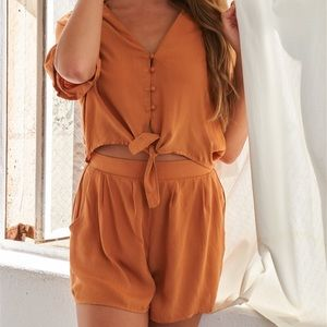 🧡Caramel Relaxed Fit Front Tie Romper🧡